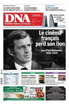 """La une des """"Dernières nouvelles d'Alsace"""", le 7 septembre 2021. (LES DERNIERES NOUVELLES D'ALSACE)"""