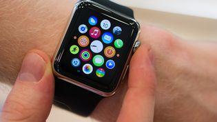 Un vendeur en pleine démonstration de l'Apple Watch, dans un Apple Store à Berlin, le 10 avril 2015. (STEFANIE LOOS / REUTERS)
