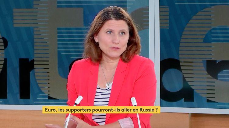 Roxana Maracineanu, ministre déléguée chargée des Sports, le 25 juin 2021 sur le plateau de franceinfo. (FRANCEINFO)