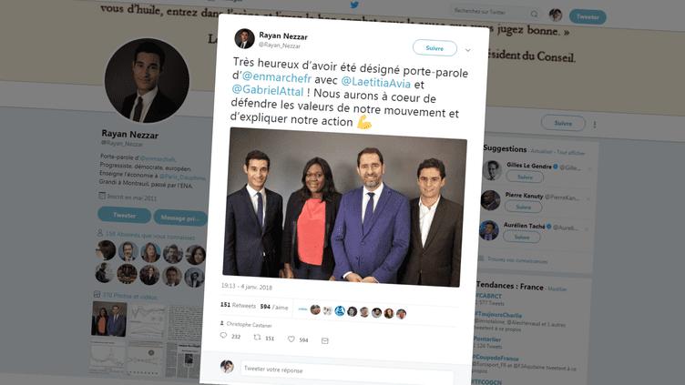 Capture dumessage publié par le nouveau porte-parole de La République en marche Rayan Nezzar (à gauche), jeudi 4 janvier 2018, pour annoncer sa nomination. (RAYAN NEZZAR / TWITTER)