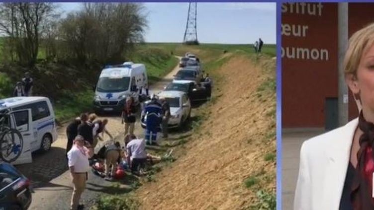 En direct depuis Lille (Nord), la journaliste Barbara Six fait le point sur l'état de santé du coureur belge, vicitme d'un arrêt cardio-respiratoire dimanche, dans les Hauts-de-France, alors qu'il participait à la course du Paris-Roubaix. (FRANCE 2)