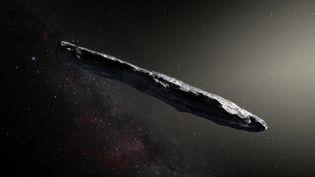 """Illustration de l'astéroïde""""Oumuamua"""", publiée le 20 novembre 2017. (M. KORNMESSER / EUROPEAN SOUTHERN OBSERVATORY / AFP)"""