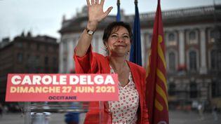 La liste de la présidente sortante Carole Delga est arrivée en tête au second tour de l'élection régionale en Occitanie, dimanche 27 juin 2021. (LIONEL BONAVENTURE / AFP)