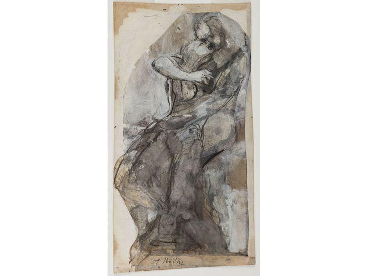"""Auguste Rodin, """"Couple enlacé"""" ou """"Etude pour Le Baiser"""", 1880-1889, crayon graphite, encre, gouache et collage sur papier découpé et collé sur papier vélin imprimé  (agence photographique du musée Rodin, ph. J. Manoukian)"""