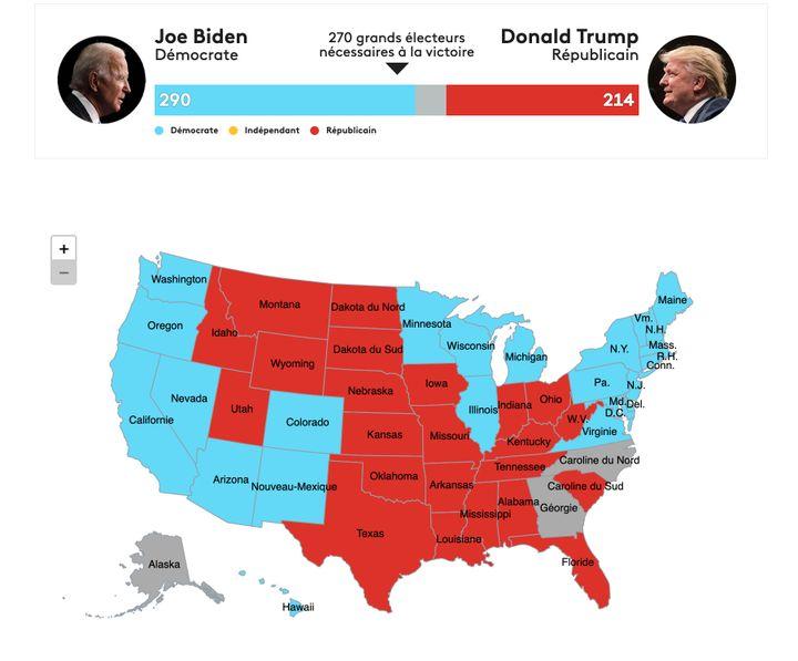 La carte des résultats, Etat par Etat, à la date du 8 novembre à midi (heure des Etats-Unis). (FRANCEINFO)