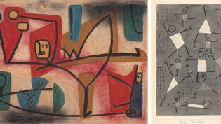 """Paul Klee, A droite : """"Ubermut"""" (Exubérance), 1939, Zentrum Paul Klee, Berne - A gauche : """"Tänze vor Angst"""" (Danses sous l'empire de la peur), 1938, Zentrum Paul Klee, Berne  (Zentrum Paul Klee, Berne)"""
