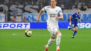 L'attaquant marseillais Arkadiusz Milik lors du match de 10e journée de Ligue 1 face à Lorient, le 17 octobre 2021. (NICOLAS TUCAT / AFP)