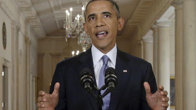 Le président américain, Barack Obama, lors de son discours à la nation à Washington (Etats-Unis), le 10 septembre 2013. (EVAN VUCCI / AFP)