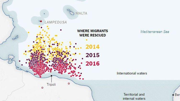 Lieux de repêchage des migrants en mer au large de la Libye en 2014, 2015 et 2016. La carte montre que les sauvetages se font de plus en plus près des côtes libyennes. Une conséquence de l'accroissement des moyens de sauvetage (voir leNYT). (New York Times)