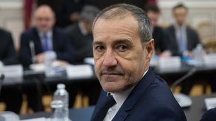 Le président de l'Assemblée de Corse, Jean-Guy Talamoni, reçu par le ministre de l'Intérieur. (NICOLAS KOVARIK / MAXPPP)