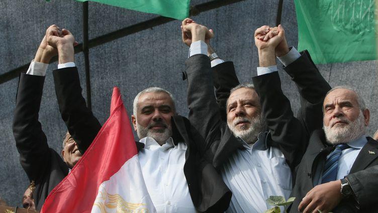 Ismaïl Haniyeh, le chef du gouvernement du Hamas, à Gaza, le 22 novembre 2012. (MAHMUD HAMS / AFP)