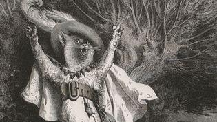 """Gustave Doré, """"Au secours ! Au secours ! Voilà M. le marquis de Carabas qui se noie"""" (détail), frontispice pour """"Le Maître Chat"""" ou """"Le Chat botté"""", publié dans Charles Perrault, """"Contes"""", illustré par Gustave Doré, gravé par Adolphe François Pannemaker (1822-1900)  (Bibliothèque nationale de France)"""