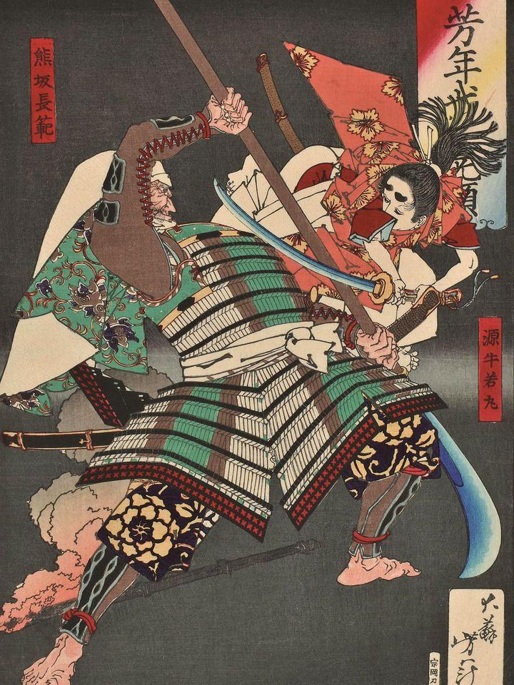 Ushiwakamaru-chohan (1883) de Yoshitoshi. (CR)