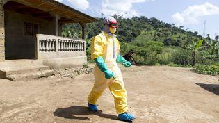 Un soignant quitte la maison d'une victime du virus Ebola à Macenta (Guinée), le 21 novembre 2014. (KENZO TRIBOUILLARD / AFP)