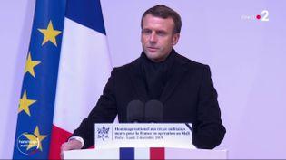 Emmanuel Macron, le 2 décembre 2019 aux Invalides. (FRANCE 2)