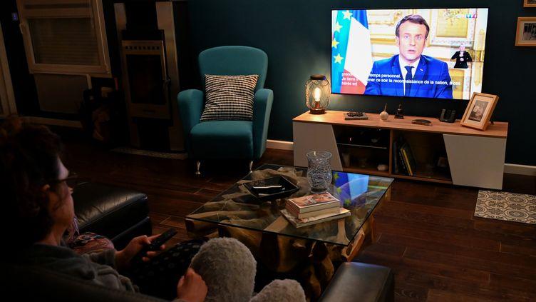 L'allocution d'Emmanuel Macron, le 12 mars 2020. (DENIS CHARLET / AFP)