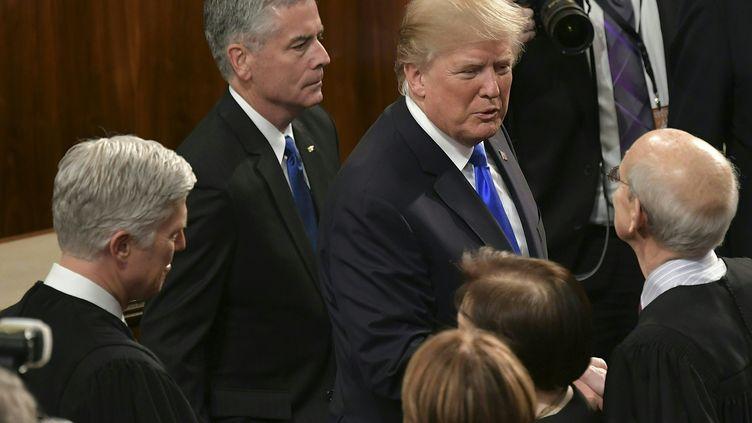 Donald Trump le jour de son discours de l'Union, le 30 janvier 2018, à Washington (Etats-Unis). (MANDEL NGAN / AFP)