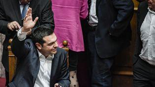 Le Premier ministre grecAlexis Tsipras, le 16 janvier 2019, au Parlement d'Athènes. (LOUISA GOULIAMAKI / AFP)