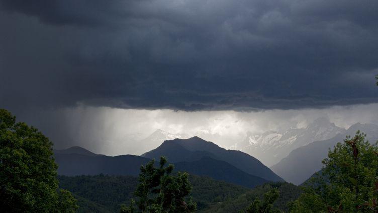 La pluie tombe sur un massif des Pyrénées, dans l'Ariège, le 18 mai 2011. (H. CURTIS / BIOSPHOTO / AFP)