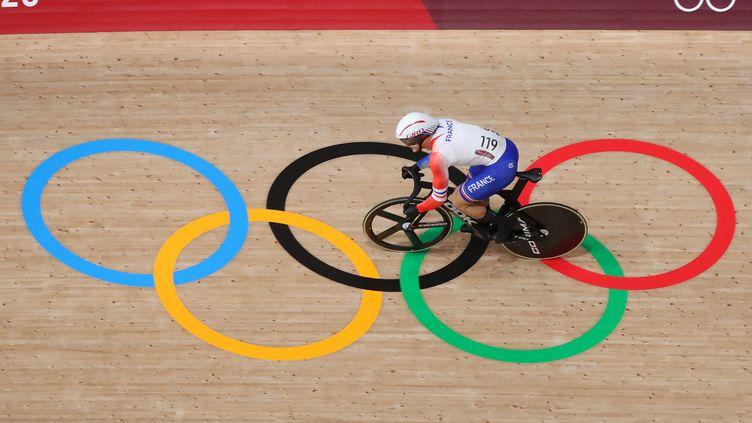Le sprinteur français Rayan Helal, lors des Jeux olympiques de Tokyo. (KMSP / AFP)
