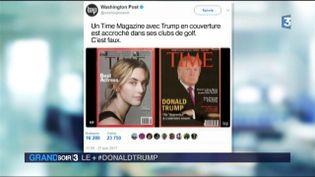 La couverture de Time et à côté la fausse une avec Donald Trump (France 3)