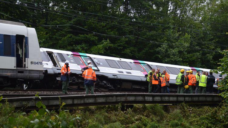 Une rame du RER s'est renversée, le 12 juin 2018, entreSaint-Rémy-les-Chevreuse (Yvelines) et Courcelle-sur-Yvette(Essonne). (ALPHACIT NEWIM / CROWDSPARK / AFP)