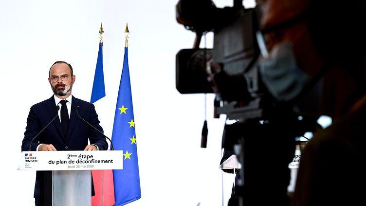 Le Premier ministre Edouard Philippe, lors de sa conférence de presse télévisée de présentation de la deuxième phase de déconfinement, le 28 mai 2020. (PHILIPPE LOPEZ / POOL)