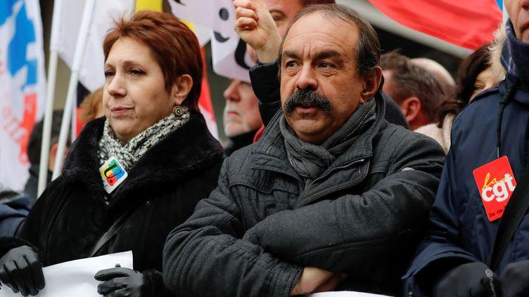Philippe Martinez lors d'une manifestation contre la réforme des retraites, le 5 décembre 2019, à Paris. (THOMAS SAMSON / AFP)