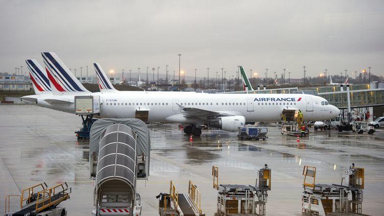Un avion stationne sur le tarmac de l'aéroport de Paris-Roissy, le 16 décembre 2011. (MIGUEL MEDINA /AFP PHOTO)