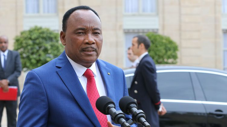 (Mahamadou Issoufou, président du Niger, en juin 2015 à l'Elysée © Maxppp)