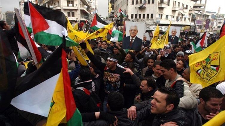 A Ramallah, le 20 février 2011, manif contre le véto US du projet de résolution contre la colonisation israélienne. (AFP/ABBAS MOMANI)