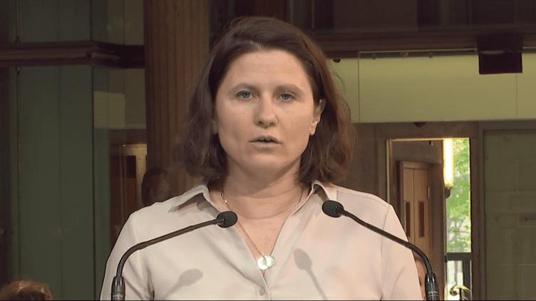 La ministre déléguée chargée des Sports Roxana Maracineanu, vendredi 2 avril, lors de la deuxième convention nationale de prévention des violences dans le sport.