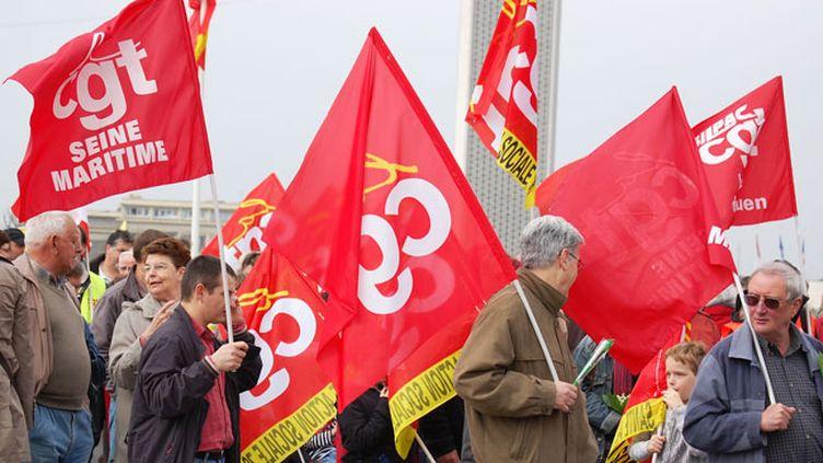 Manifestants de la CGT lors du 1er mai (© F3 Normandie - PO Casabianca)