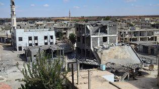 La ville deTalbisseh dans la province de Homs (Syrie), le 30 septembre 2015 après un bombardement russe. (MAHMOUD TAHA / AFP)