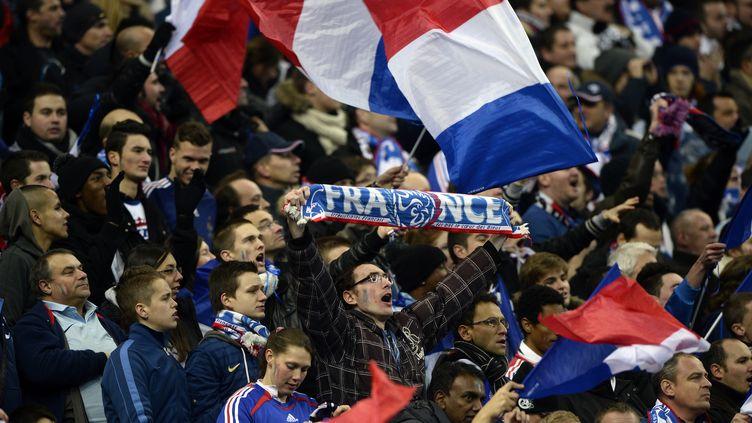 Des supporters français au stade de France, le 19 novembre 2013, lors du match qualificatif pour la Coupe du monde entre les Bleus et l'Ukraine. (FRANCK FIFE / AFP)