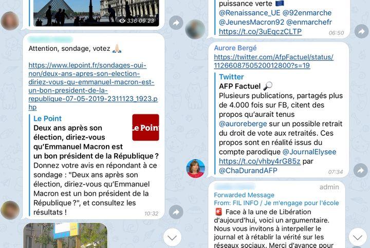 """Capture d'écran de la boucle Telegram """"Riposte En Marche !"""", dans laquelle certains élus comme la porte-parole de LREM Aurore Bergé partagent deséléments de langage favorables à la majorité. (FRANCEINFO)"""