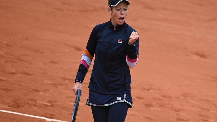 L'Allemande Laura Siegemund s'est qualifiée le 5 octobre pour les quarts de finale de Roland-Garros. (ANNE-CHRISTINE POUJOULAT / AFP)