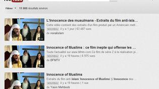 """Les extraits vidéo du film anti-islam """"L'Innocence des musulmans"""" n'ont été supprimés par YouTube qu'en Egypte et en Libye (capture d'écran). (YOUTUBE)"""