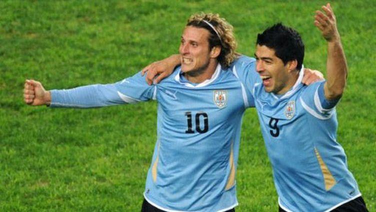 Diego Forlan et Luis Suarez, la paire offensive de l'Uruguay