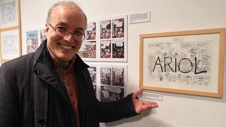 Le scénariste et dessinateur Emmanuel Guibert lors du festival international de la BD d'Angoulême (Charente), le 25 janvier 2018. (MEHDI FEDOUACH / AFP)