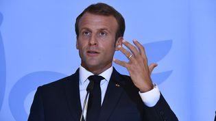 Le chef de l'Etat, Emmanuel Macron, le 6 septembre 2018 à Bourglinster (Luxembourg). (ERIC LALMAND / BELGA MAG / AFP)
