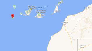 Les migrants ont été retrouvés au large de l'île de Hierro, le 11 avril 2021. (CAPTURE D'ECRAN GOOGLE MAPS)