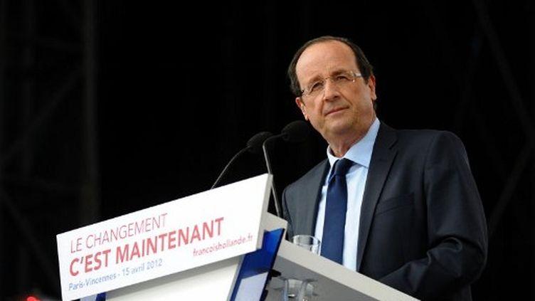 François Hollande tient meeting à Vincennes, le 15 avril 2012. (AFP - Martin Bureau)