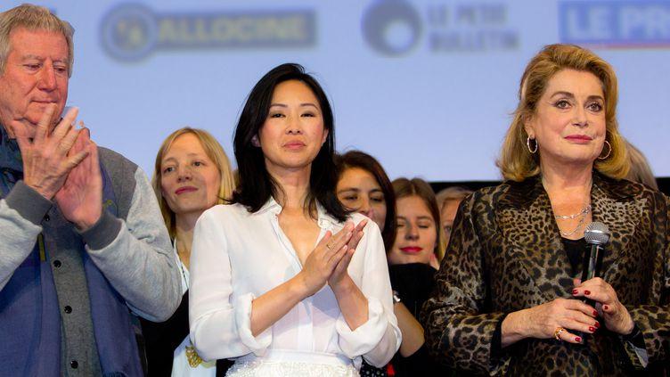 Régis Wargnier, Linh Dan Pham et Catherine Deneuve à Lyon, le 16 octobre 2016  (Jean-François Lixon / Culturebox)
