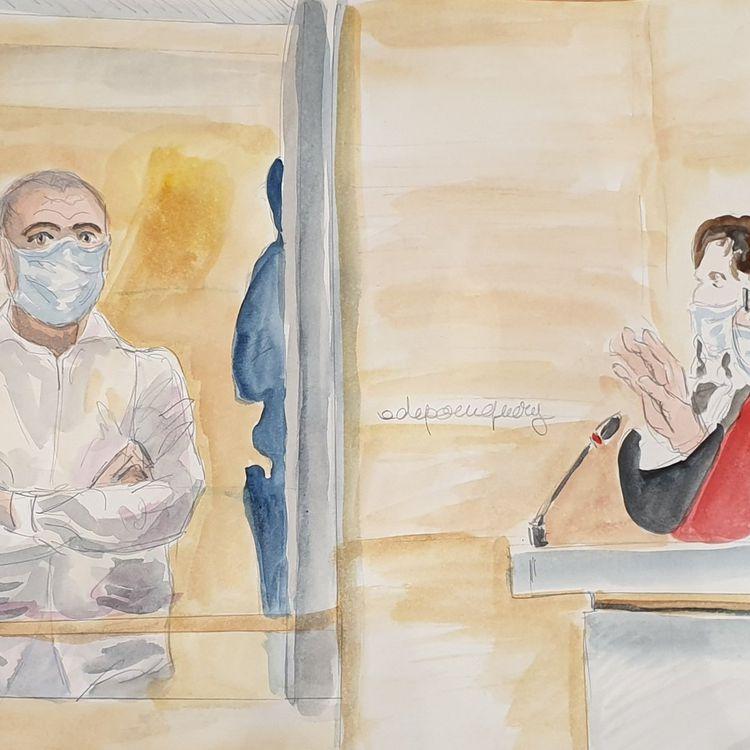 Ali Riza Polat, lors de son interrogatoire au procès des attentats de janvier 2015, le 4 septembre 2020. (ELISABETH DE POURQUERY / FRANCEINFO)