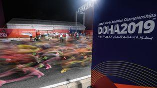 Les coureuses du marathon, à Doha (Qatar), le 28 septembre 2019. (GRIGORY SYSOEV / SPUTNIK / AFP)