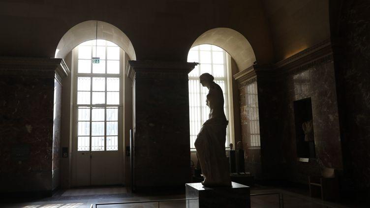 """La """"Vénus de Milo"""" photographiée au Louvre, vidé de ses visiteurs à cause de la pandémie, le 21 février 2021. (ARNAUD JOURNOIS / MAXPPP)"""