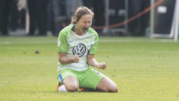 Caroline Graham après avoir marqué un penalty pour son club, leVfL Wolfsburg, en mai 2018. (FRANZ WAELISCHMILLER/SVEN SIMON / SVEN SIMON)