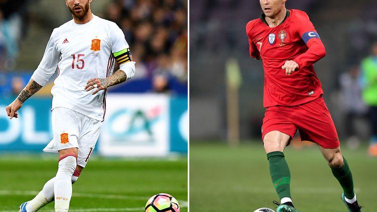 Sergio Ramos face à Cristiano Ronaldo, coéquipiers au Real Madrid mais capitaines de leur sélection respective pour le choc du 1er tour du Mondial 2018 (FRANCK FIFE,FABRICE COFFRINI / AFP)