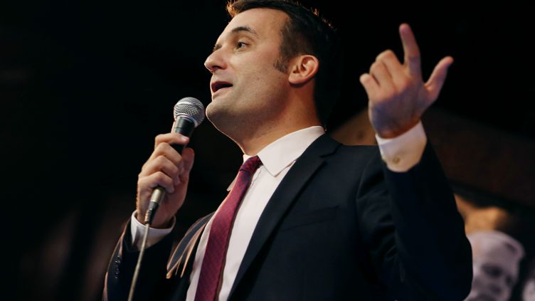 Florian Philippot, vice-président du Front national,lors d'un discours le 24 mars 2013 à Paris. (KENZO TRIBOUILLARD / AFP)